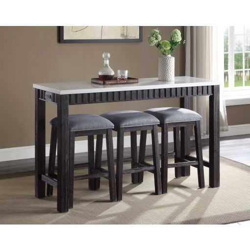 Starus Marble Top Table Set With Stools