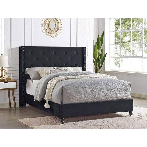 Stratus Black Velvet Bed