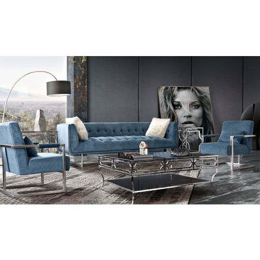 Studio Modern Sofa Royal Blue Velvet