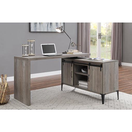 Tacna Rustic Grey Desk With Swivel Top
