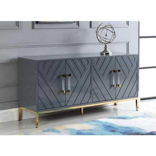 Tamari Grey Buffet With Gold Accents