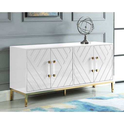 Tamari White Lacquer Buffet Gold Accents