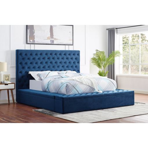 Tami Tufted Blue Velvet Bed With Storage