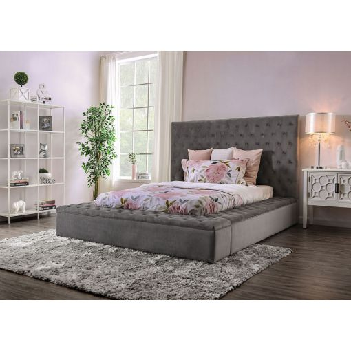 Tami Gray Fabric Storage Bed