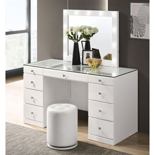 Tanquin White Vanity With LED Mirror