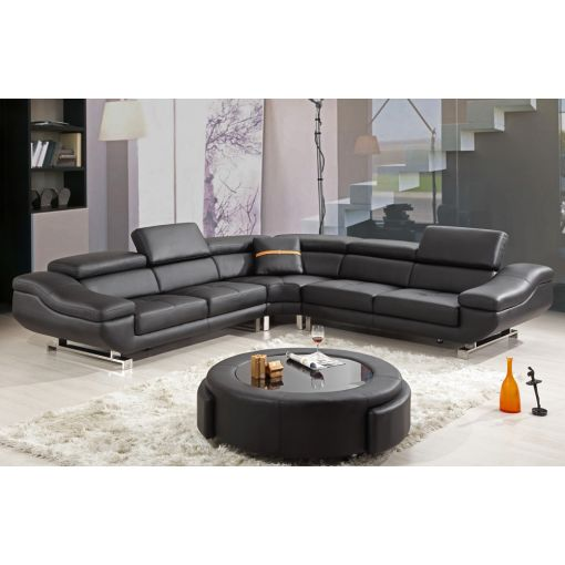 Tara Black Leather Modern Sectional