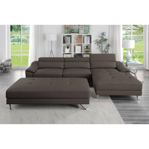 Tarryn Espresso Leather Modern Sectional