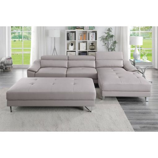 Tarryn Grey Leather Modern Sectional