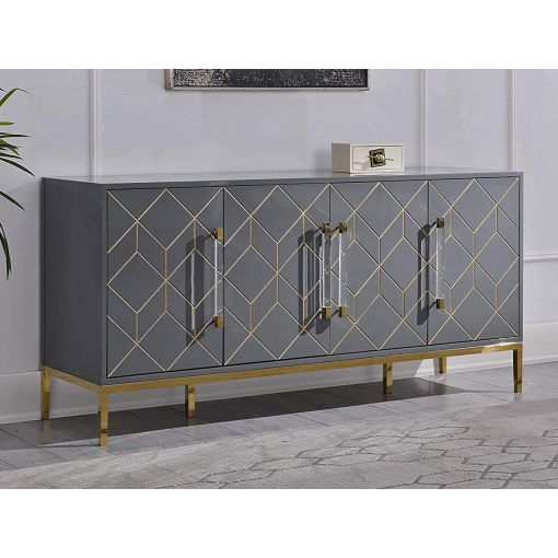 Thorne Grey Lacquer Server Gold Accents