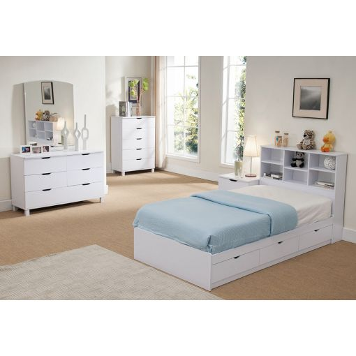 Tiara White Chest Bed With Drawers