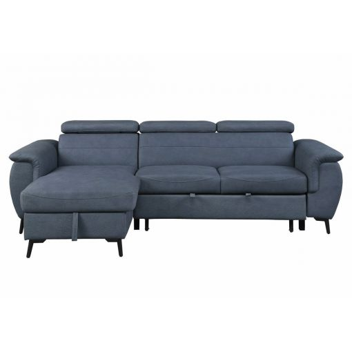 Turner Blue Microfiber Sectional Sleeper