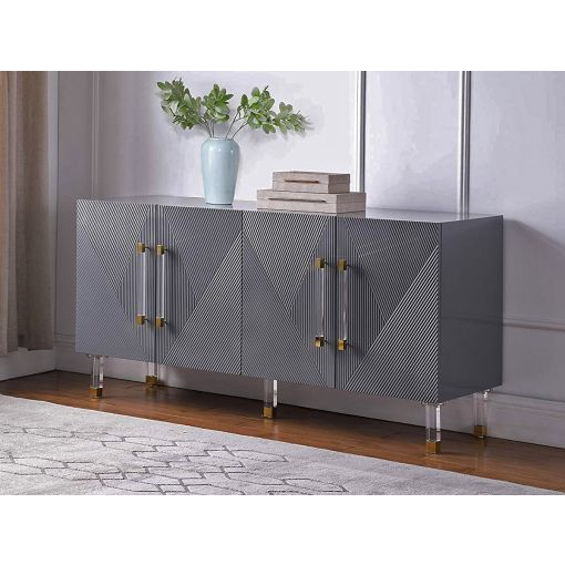Tyrell Grey Lacquer Buffet Acrylic Accents