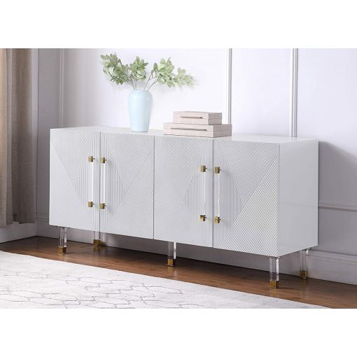 Tyrell White Lacquer Sideboard Acrylic Accents