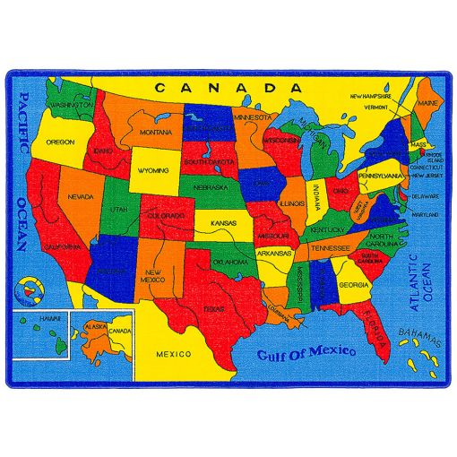 USA Map Kids Room Rug