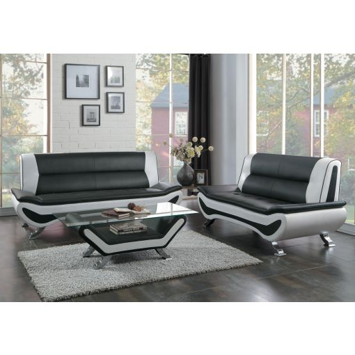 Velia Black and White Leather Sofa