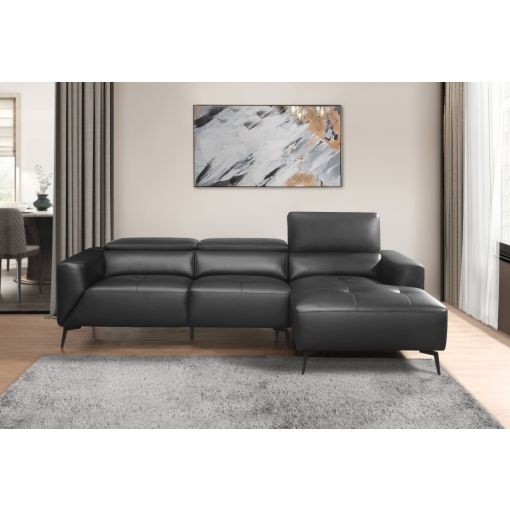 Veronika Black Leather Sectional