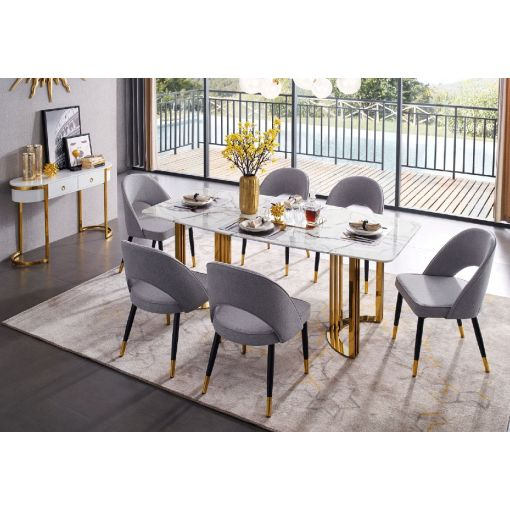 Vonnie Marble Top Dining Table Gold Base