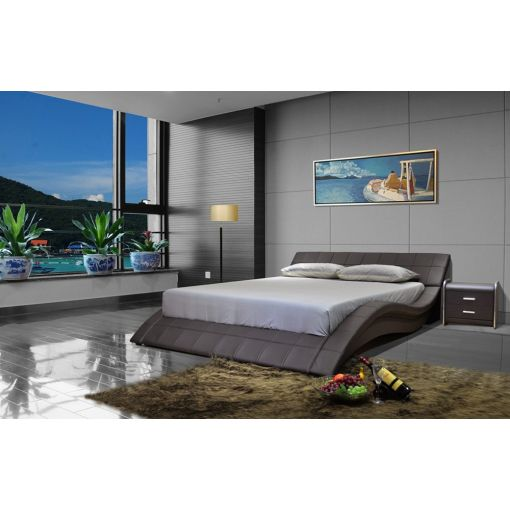 Wavy Dark Brown Low Profile Platform Bed