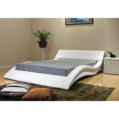 Wavy White Leather Low Platform Bed