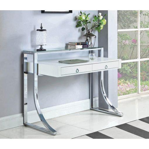Willcox White Lacquer Modern Writing Desk