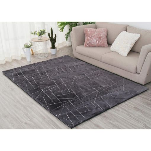 Wisteria Charcoal Rug With Silver Lines