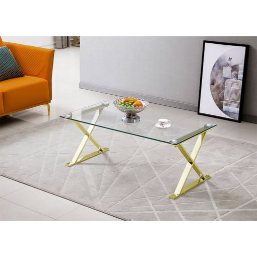 Xavia Coffee Table With Gold Legs