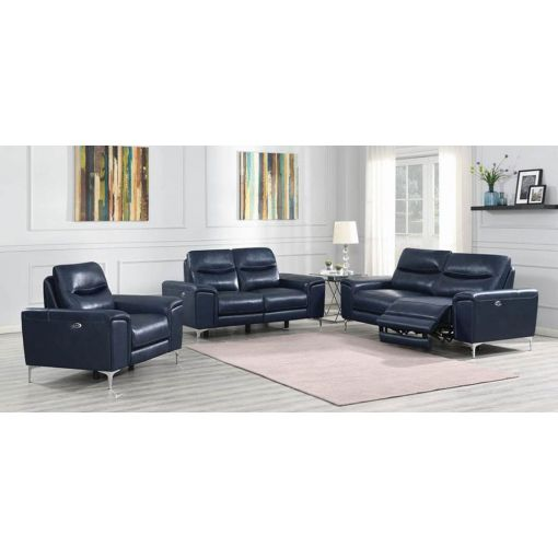 Zane Power Recliner Sofa Inc Blue Leather