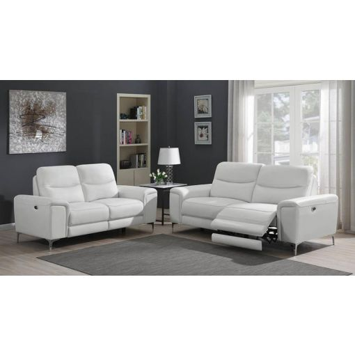 Zane Power Recliner Sofa White Leather