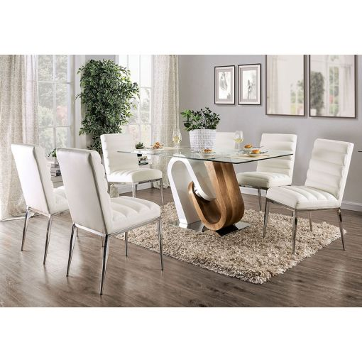 Zelah Modern Glass Top Dining Table