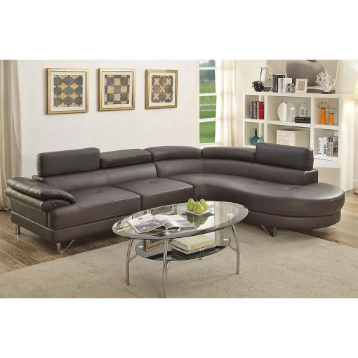 Zelma Espresso Leather Modern Sectional