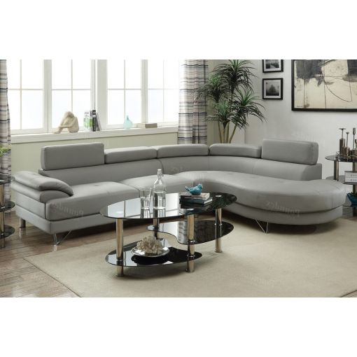 Zelma Grey Leather Sectional