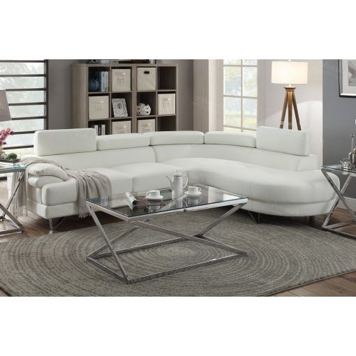 Zelma White Leather Modern Sectional Sofa