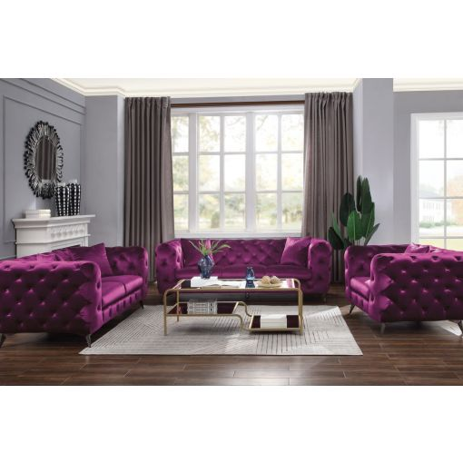 Zenon Purple Fabric Chesterfield Sofa