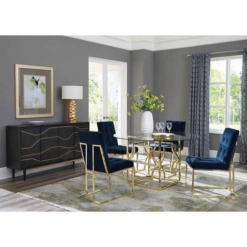 Zuri Round Dining Table Set Gold Finish