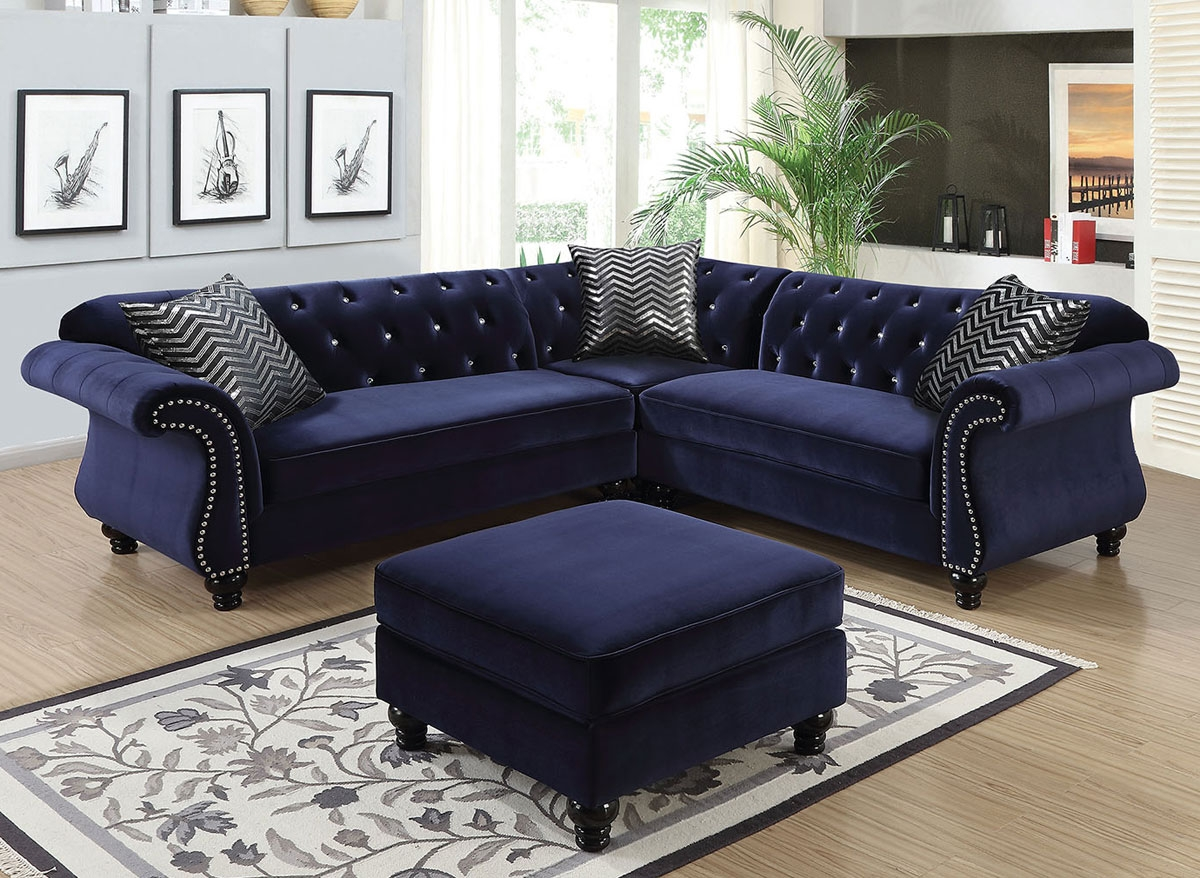 Faris Crystal Tufted Blue Fabric Sectional