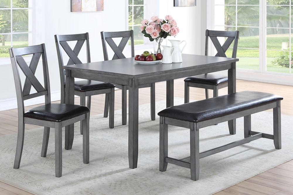 Galina Rustic Grey Dining Table Set, Gray Rustic Dining Room Set