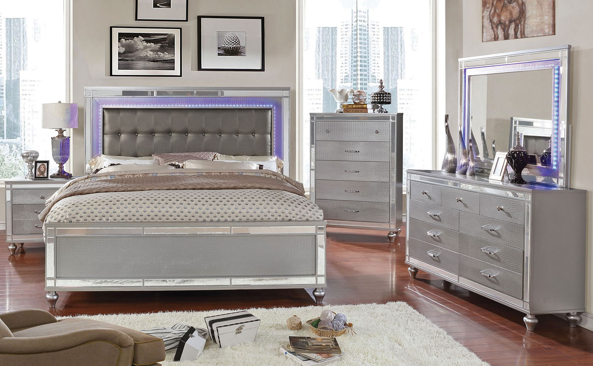 Ingram Modern Bedroom Silver Finish