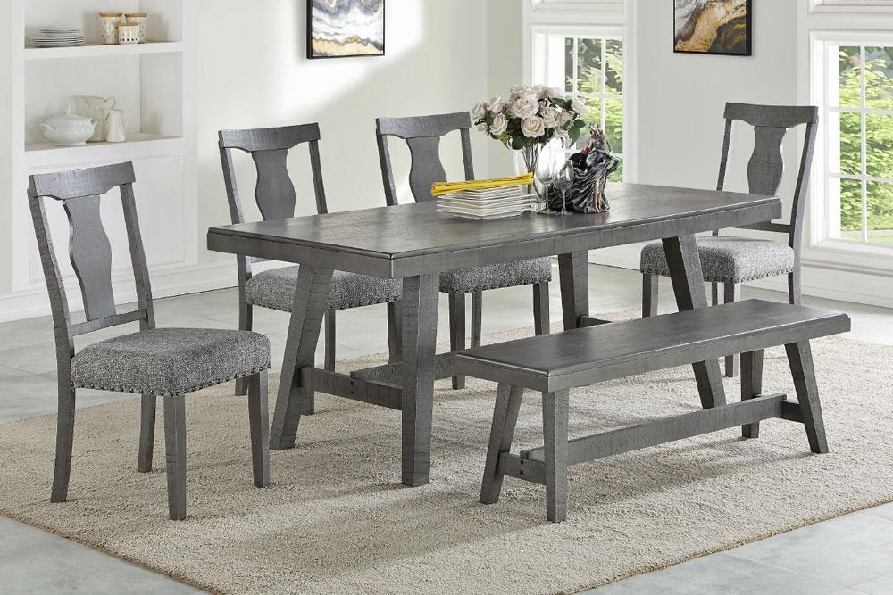 Lavon Table Set Rustic Gray Finish