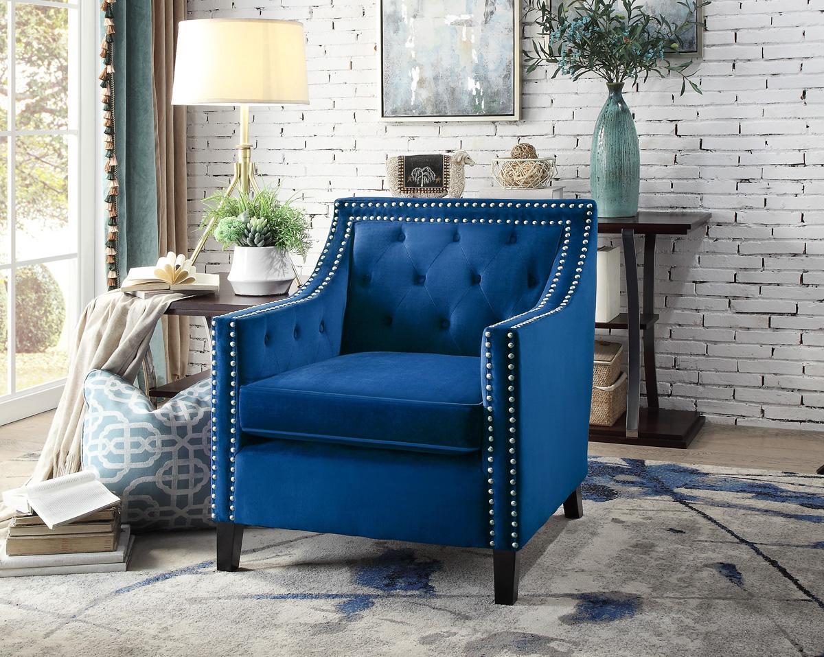 Lodovico Blue Velvet Accent Chair