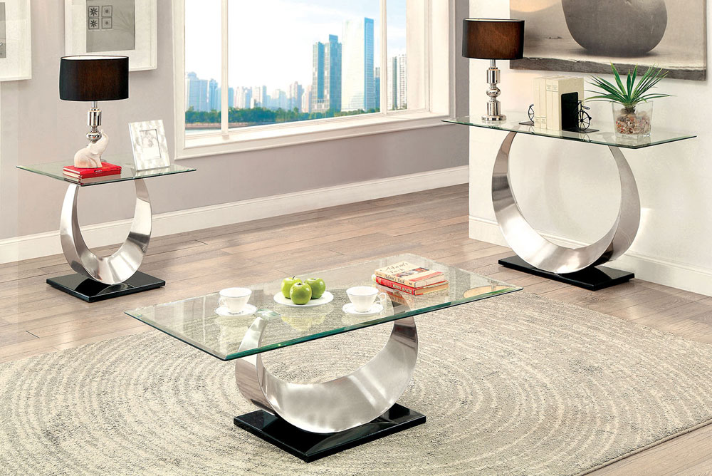 Lucy Modern Glass Top Coffee Table, Living Room Table Set