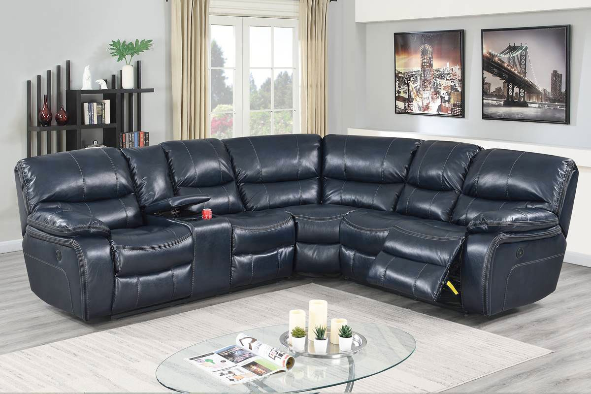 Madelia Ink Blue Leather Power Recliner Sectional