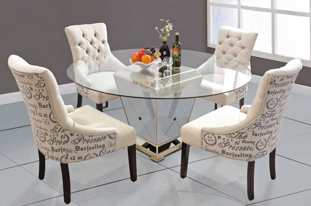 Maras Mirrored Dining Table, Mirrored Living Room Furniture Set