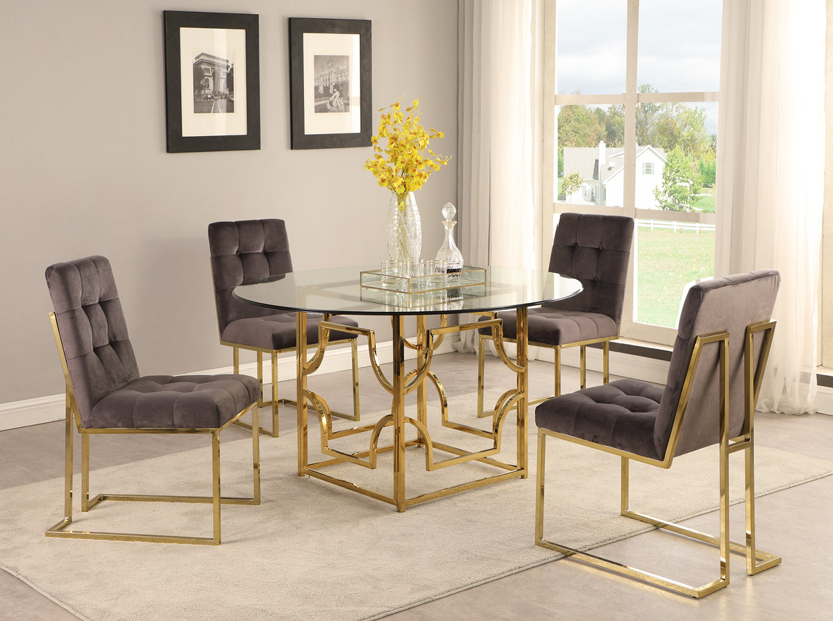 Orchid Gold Finish Dining Table Set, Gold Dining Room Set