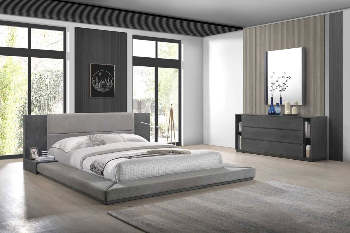 Picture of: Q Ave Modern Fabric Upholstered Bed