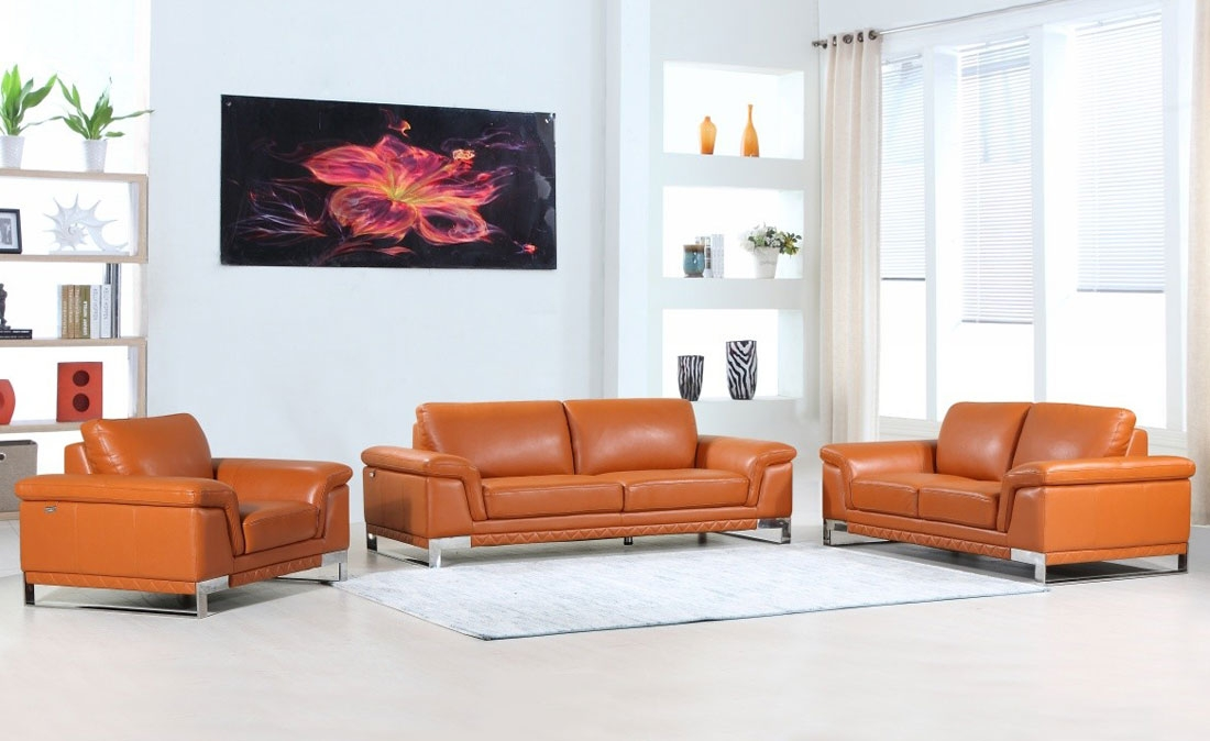 Picture of: Richard Camel Color Leather Sofa