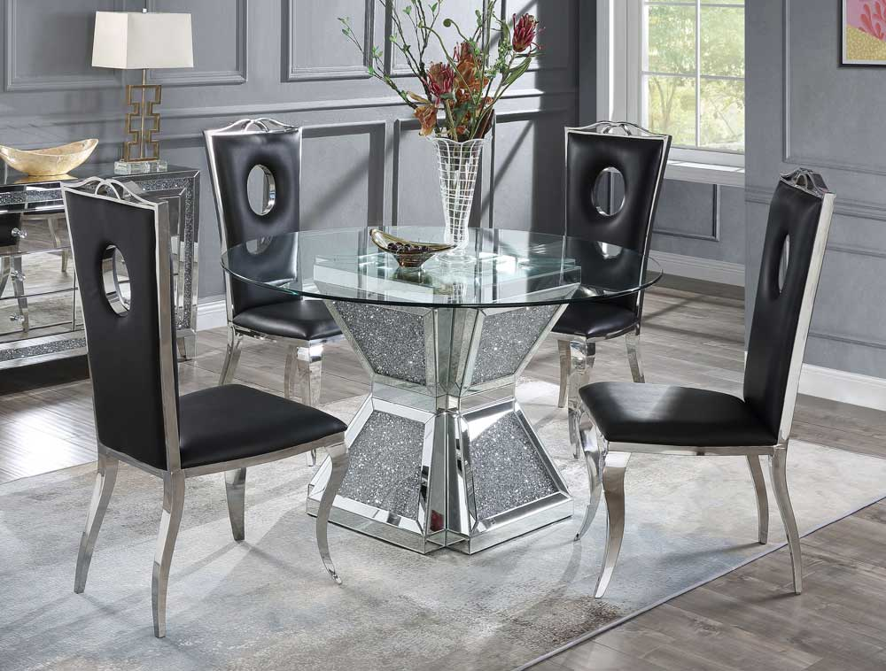 Silvertone Round Mirrored Dining Table, Mirror Dining Room Table